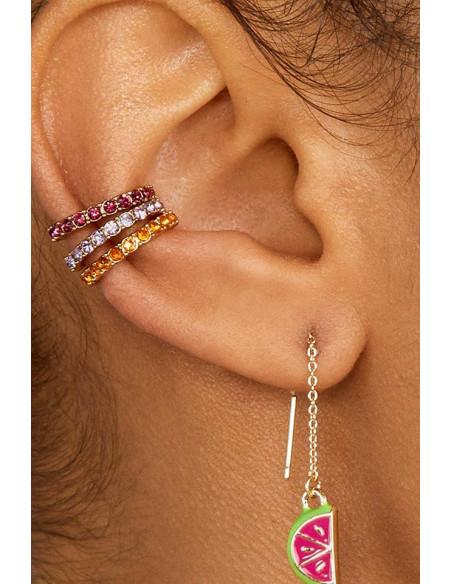 Cercel ear cuff rotund, cristale mici fatetate, in suport cu zimti