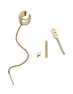 Set cercel ear cuff eleganti, inel triplu cu cristale si lantisor, fulger si tija