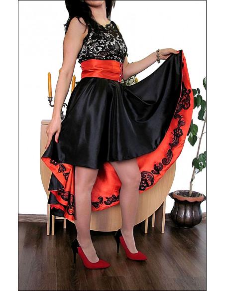 Rochie de ocazie cu fusta asimetrica din tafta si corset din dantela