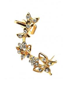 Cercel ear cuff cu fluturi mici si floricele, decorat cu cristale
