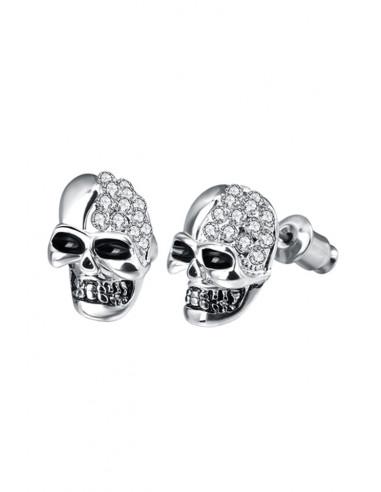 Cercei punk Pretty Skull, cranii cu ochi negri, decorate cu cristale