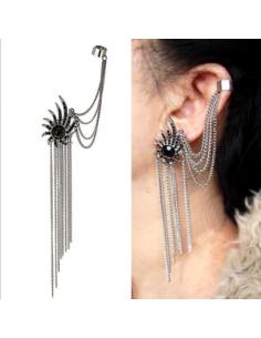 Cercel ear cuff, model floare cu cristale negre si lantisoare
