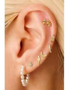 Set cercei si ear cuff cu perle, sarpe, semiluna, stelute si fulger