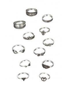 Set 12 inele boho cu semnul pacii, frunze, inimioare, fluture, flori