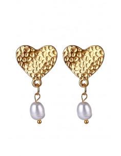 Cercei eleganti, inimioare texturate, cu perla de apa dulce