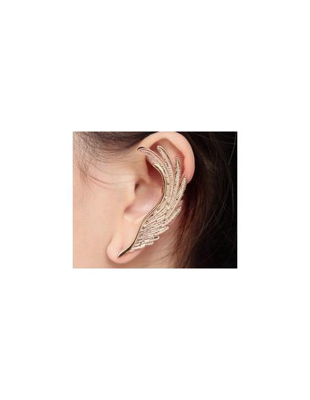 Cercel ear cuff, model pana de vultur pe toata urechea