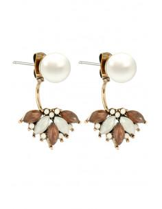 Cercei vintage eleganti, cristale albe si maro si perla
