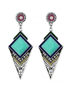 Cercei etnici, medalioane romboidale cu cristale, margelute si piatra fatetata