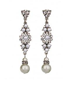 Cercei eleganti Evening with Juliette, perle albe si cristale fatetate
