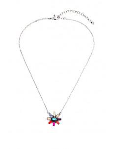 Colier minimal, medalion margareta cu petale colorate din cristale