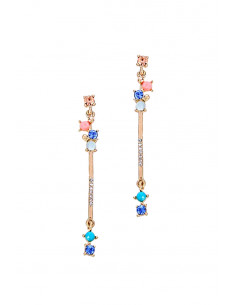 Cercei minimal eleganti, tije lungi, cu cristale colorate