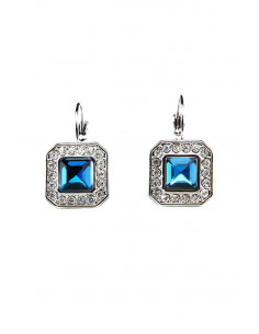 Cercei eleganti, cristal patrat albastru si bordura de cristale mici