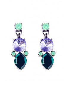Cercei eleganti, Forest Drops, cristale mari, verzi si bleu