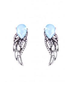 Cercei vintage, Blue Angel Wings, aripi decorate cu cristale picatura