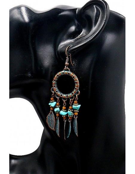 Cercei etnici tip candelabru, bronz antichizat, inele cu margelute si frunze