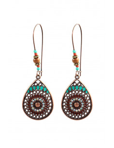 Cercei etnici eleganti, medalioane picatura filigranata, cu cristale si margelute
