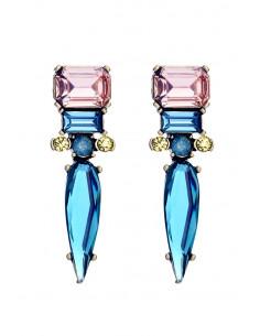 Cercei luxury lungi, cu cristale fatetate dreptunghiulare, rotunde si ascutite