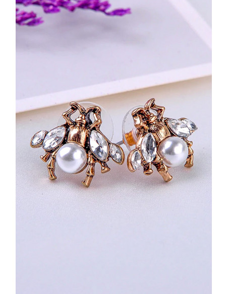 Cercei eleganti vintage, albinute decorate cu cristale si perluta