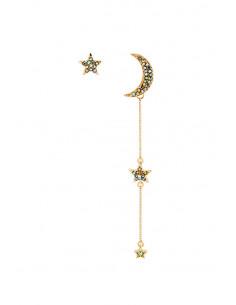 Cercei luxury asimetrici, semiluna si stelute, cu cristale multicolore