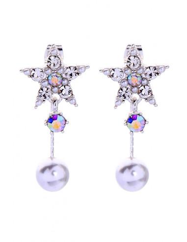 Cercei eleganti, stelute cu cristale stralucitoare si perle
