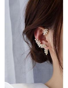 Cercel ear cuff arcuit pe dupa ureche, ramuri cu cristale
