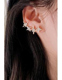 Cercel ear cuff cu stelute, decorat cu cristale