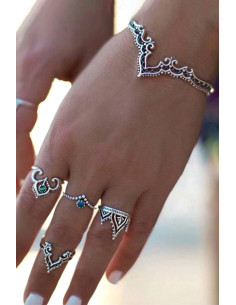 Set 4 inele boho si bratara, cu modele etnice si cristale