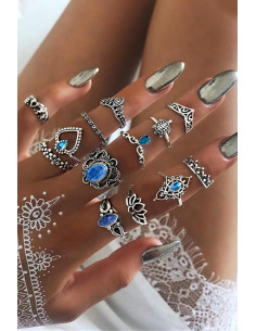 Set 13 inele boho cu lotus, elefantei, inimioara, flori si cristale
