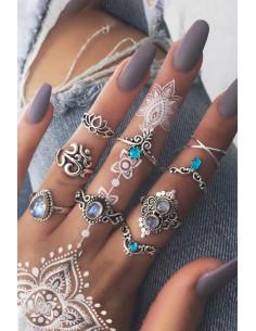 Set 9 inele boho cu lotus, OM, flori si cristale