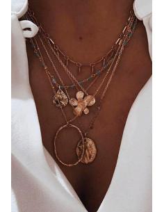 Colier multilayer cu 5 lantisoare, medalioane ovale, floare, banuti si margelute