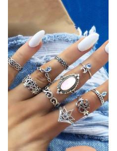 Set 10 inele boho cu cristale si coronite cu model floral