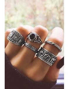 Set 5 inele boho, cu elefantei, modele geometrice si margica neagra