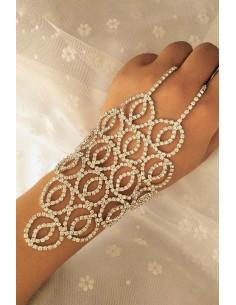 Bratara cu inel eleganta, cerculete cu cristale in suport patrat