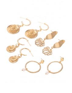 Set de 4 perechi de cercei, melci, frunze, hula hoops cu perle