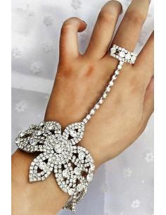Bratara cu inel eleganta, floare mare din cristale in suport patrat