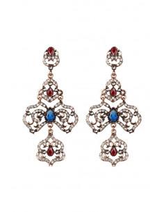 Cercei eleganti vintage, cruci mari cu cristale rosii, albastre si albe