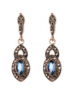 Cercei eleganti vintage, picaturi decorate cu cristale albastre si hematite