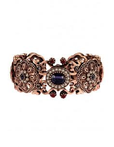 Bratara vintage glam, cuff elastic, model inflorat, cu cristale colorate
