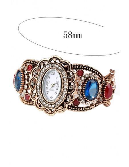 Ceas de mana vintage de dama, cadran floare si cristale colorate si curea cu cercuri