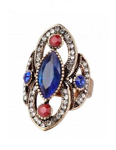 Inel vintage oval, model baroc, cu cristale albe si colorate, ascutite