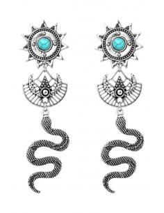 Cercei etnici, de inspiratie azteca, soare, semiluna si sarpe