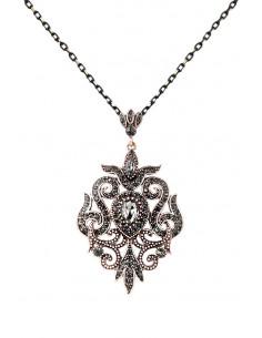Colier vintage glam, medalion floral baroc, cu cristale fumurii
