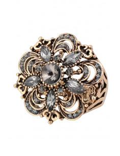 Inel vintage rotund, model floral baroc, cu cristale fumurii
