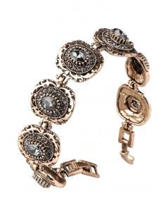 Bratara vintage glam, medalioane ovale, model inflorat cu cristale fumurii