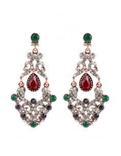 Cercei eleganti vintage, candelabre lungi cu cristale rosii, albastre, verzi si albe