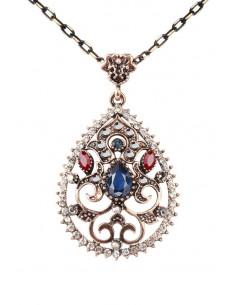 Colier vintage glam, medalion picatura inflorata, cu bordura de cristale