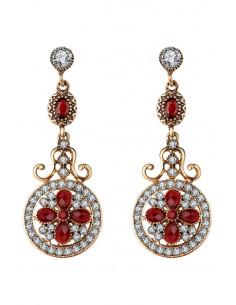 Cercei eleganti vintage, lungi, medalioane rotunde cu cristale rosii si albe