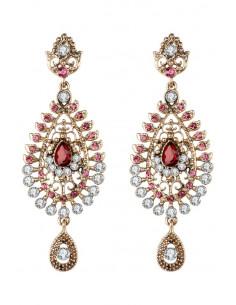 Cercei eleganti vintage, candelabre  lungi cu cristale rosii, roz si albe