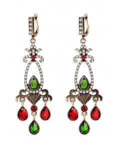 Cercei eleganti vintage, candelabre lungi cu cristale rosii, verzi si albe