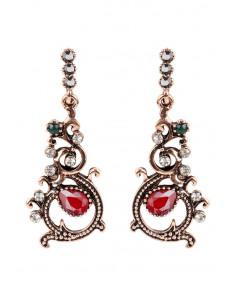 Cercei eleganti vintage, model floral, cu cristale rosii, verzi si albe